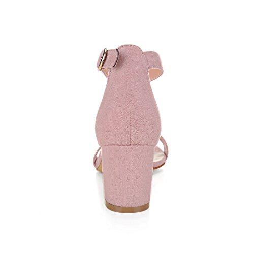 Allegra K donne aperta in punta con tacco cinturino alla caviglia sandali US Nero 10 Light Pink