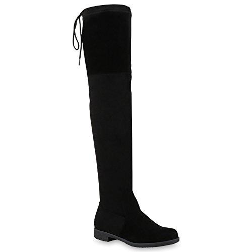 Stiefelparadies Damen Stiefel Overknees mit Blockabsatz Schleifen Flandell