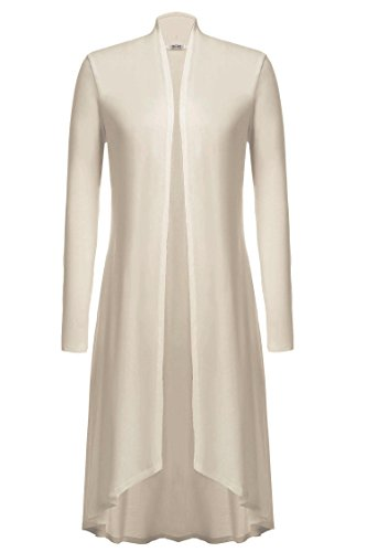 Meaneor Damen Maxi Cardigan Jerseymantel Strickjacke Geometrische Irregular Lose Pullover Mantel Offen Loose Fit Baumwolle , Beige - EU 44(Herstellergröße: XXL)