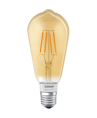 Osram Smart + LED filamento edison Oro | Apple HomeKit lampada con | dimmerabile | Sostituisce 60W, attacco E27Lampadina Luce Bianca Calda
