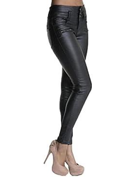 Pantalones Yoga Mujeres, ❤️Xinantime Polainas de cuero de la PU de las mujeres Pantalones pitillo elásticos Pantalones...