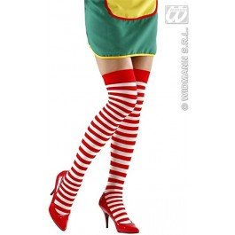 SIAN weiß rot gestreift (Mädchen Frau Claus Kostüme)