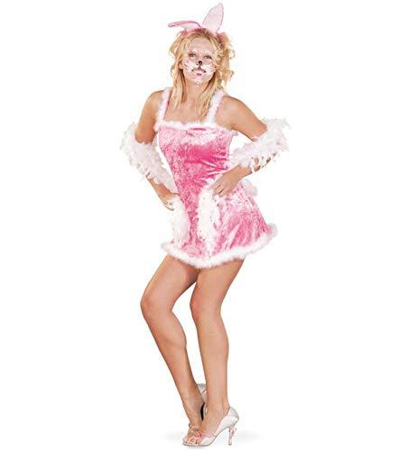 nkostüm Bunny sehr kurzes Kleid und Haarreif mit Ohren in rosa-pinkem weichem Stoff mit weißem Plüschbesatz sexy kuschelig Häschen Bunny Hase Häsin (36) ()