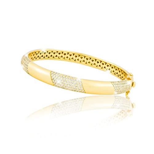 PAVEL´S eleganter Damen Armreif GOLDEN GLAM Armband Armspange verschliessbar 18 Karat Gold plattiert echte Zirkonia mit Zertifikat und Schmuckbox