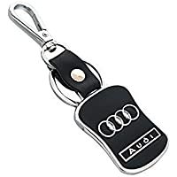 """H & S DESIGNER STUDIO """"GREAT QUALITY BETTER PRICE"""" Imported Leather Audi Key Chain/Key Ring with Chrome Car Logo (Black)"""