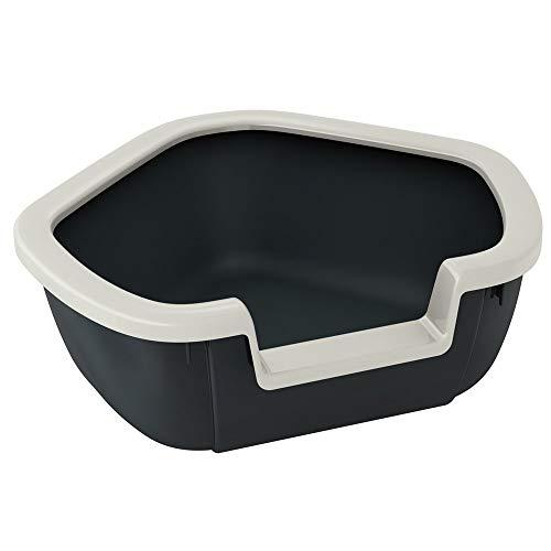 Ferplast Katzentoilette Dama für Raumecken - Robuste Katzentoilette mit hohem, abnehmbarem Rand für eine hygienische Reinigung - Farbe: Schwarz - Maße: 57,5 x 51,5 x 22 cm - Großes Katzenklo