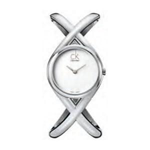 Calvin Klein K2L23120 - Reloj analógico de mujer de cuarzo con correa de acero inoxidable plateada de CK