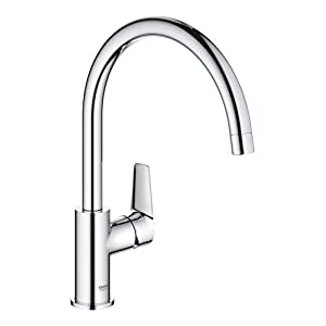 GROHE BauEdge Kitchen Tap, Tool Less Fitting, Chrome Mixer Tap 31367001