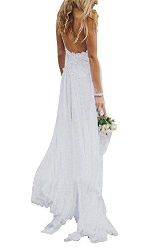 Brinny Femme Dos Nu élingue Robe de Plage Lace Dentelle Empire Taille Sexy Maxi Robe de Soirée cocktail mariage party Dress Blanc Taille: S-XL Blanc