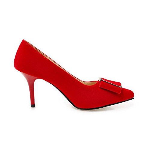 VogueZone009 Donna Tirare Scarpe A Punta Tacco Alto Plastica Puro Ballet-Flats Rosso