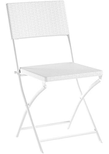 Relaxdays Klappstuhl BASTIAN 2er Set, Gartenstuhl klappbar, HBT 82 x 44 x 50 cm, Balkonstuhl im Set als Sitzgruppe, Rattan-Optik, weiß