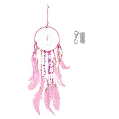 Catcher, 2 Farben Feder LED String Licht Nachtlampe Batteriebetriebene Federn Deko Lampe für Mädchen Schlafzimmer, Wand, Fenster, Party(Pink) ()