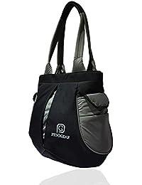 Pesogear Gear-Trax Women's Multi-pocket Polyester Nylon Hand Shoulder Bags Totes Purses Hobo, Black & Grey