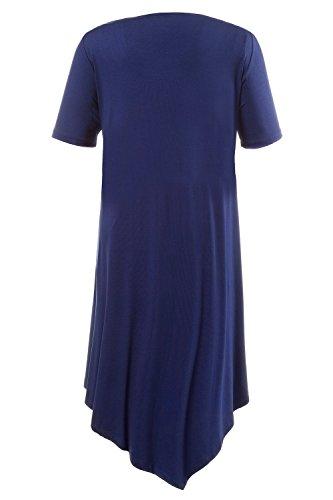 Ulla Popken Femme Grandes tailles Robe asymétrique à rayures manches courtes 708754 bleu foncé