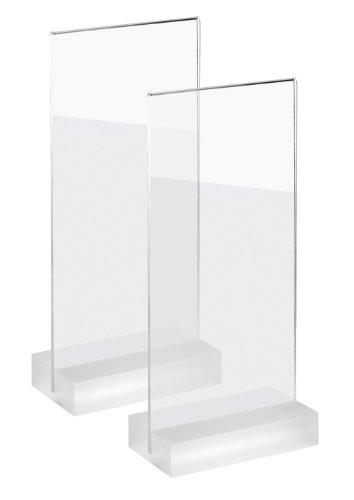 Sigel TA324 Tischaufsteller frozenacrylic für DIN lang, gerade, beidseitige Präsentation, glasklar Acryl, 2 Stück - weitere Größen
