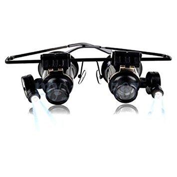 NuoYa005 Neue 20 x Objektiv Schmuck Lupe Brillen Lupe mit LED Licht zur Reparatur von Uhren