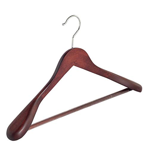 Der Kleiderbügelriese 4 x Jacken/Kostümbügel Mahagoni gebeizt mit Anti-rutsch Hosensteg, 45 cm - Mahagoni Gebeizt