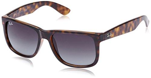Ray-Ban RB4165 Non-Polarized Justin Classic Sonnenbrille Large (Herstellergröße: 55), Braun (Gestell: Havana, Gläser: Grau Verlauf 710/8G)