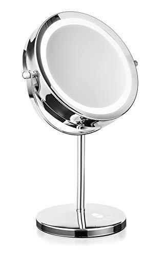 Macom 213 Sirio Sensation Double Miroir grossissant et Lumineux, grossissant/Normal, de Table, Ø 17,5 cm, Silver