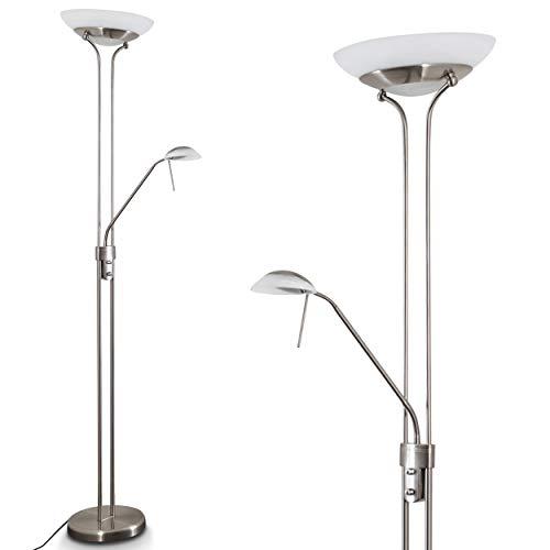LED Stehlampe Biot, dimmbarer Deckenfluter aus Metall in Nickel-matt, 18 u. 5 Watt, 2070 Lumen (insgesamt), Lichtfarbe 3000 Kelvin (warmweiß), Standleuchte mit Dimmer u. verstellbarem Lesearm -