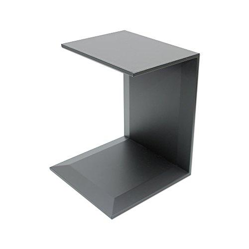 eglooh - Free - Table Bout de Canapé en Cuir Gris Anthracite - Structure Interne en Bois - Pliable avec 2 étagères - Coutures Artisanales - cm 40 x 40 H.50 - Made in Italy