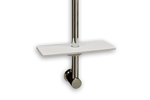 Waterful t190229 - mensola universale per asta doccia, mensola doccia portasapone, portashampoo, salvaspazio, 25 x 10 cm, bianco