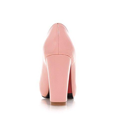 Adee Femme Plateforme Chaussures Pompes en cuir verni Rose - rose