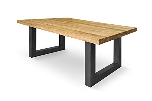 COMIFORT Mesa de comedor moderna de Roble macizo diferentes tamaños Patas de acero en Grafito (180X90)