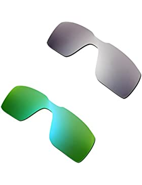 Hkuco Mens Replacement Lenses For Oakley Probation Titanium/Emerald Green Sunglasses
