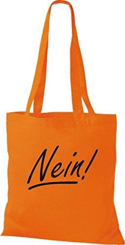 ShirtInStyle Stoffbeutel Baumwolltasche Nein!, Farbe Pink orange