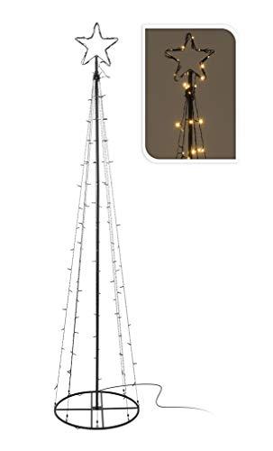 LED Metall Weihnachtsbaum schwarz 140 LED - Höhe 240 cm - Beleuchteter Deko Baum Tannenbaum Außen