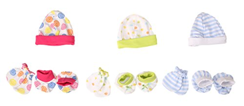 Baybee New Born Baby Mittens Booties Premium Capset (Pack of 3) - Assorted Color