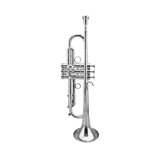 LVSSY-Bb Konzert Trompete Mit Koffer Silber Metallic Schnabel Mit Stoß- Rucksack Handschuhen 7 C Mundstück Trompete Cleaning Kit