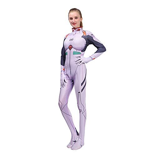 HEROMEN Ayanami Rei Evangelion Eva Anime Kostüm Siamese Cosplay 3D Digitaldruck Strumpfhose - Weihnachten Halloween Kostüm,WhiteAdult-M (Ayanami Rei Cosplay Kostüm)