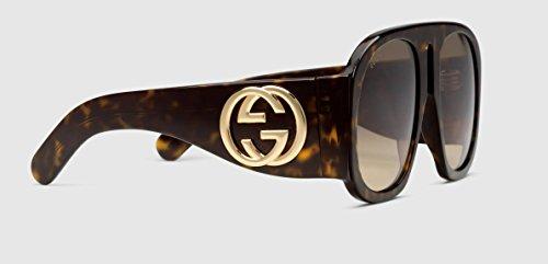 Gucci Sonnenbrillen GG0152S DARK HAVANA/DARK BROWN SHADED Damenbrillen