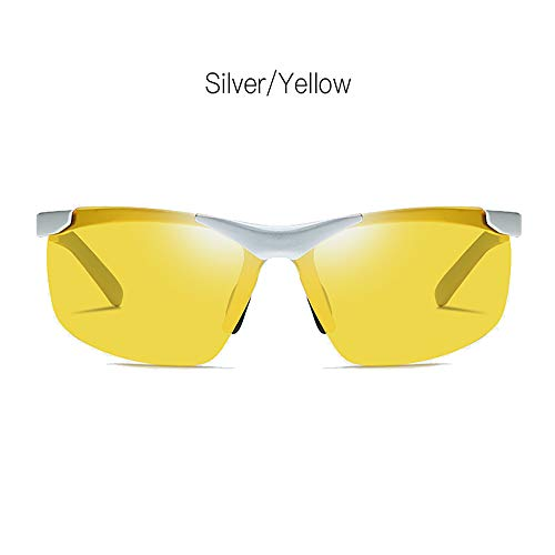 LDQLSQ Aluminium-Magnesium Polarized Sonnenbrille Outdoor Riding 6806 Driving Sonnenbrille Night Vision Brightening Driving Glasses Rivet Frame Color Coating Tone,Yellow