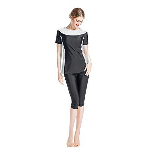 Lazzboy Frauen Muslimischen Badeanzug Mit Kappe Volltonfarbe Beachwear Bademode Burkini Kurzarm Oberteil Und Hose Islamischen 2-teilige Bescheidene Badebekleidung(Schwarz,XS)