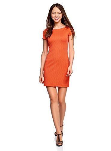 oodji Ultra Damen Kleid aus Strukturiertem Stoff mit U-Boot-Ausschnitt, Orange, DE 34 / EU 36 / XS