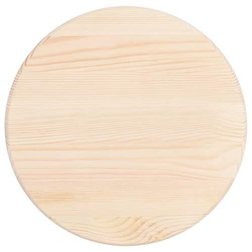 Festnight- Rund Ø 50cm Tischplatte Natürliches Kiefernholz Holztischplatte Drehplatte Esstisch Couchtisch Holztisch Dicke 28mm