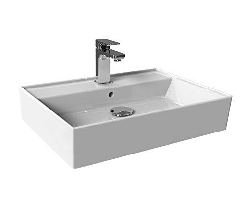 Aqua Bagno Basic Waschbecken/Aufsatzbecken modernes Design aus der Plan Serie weißer Waschtisch aus Keramik Möbelwaschtisch für das Badezimmer 55cm