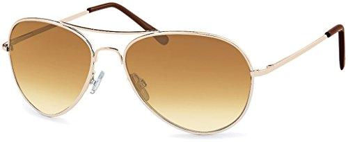 Premium Set, Pilotenbrille Verspiegelt Fliegerbrille Sonnenbrille Pornobrille Brille mit Federscharnier (80 | Rahmen Gold - Glas Braun verlauf)
