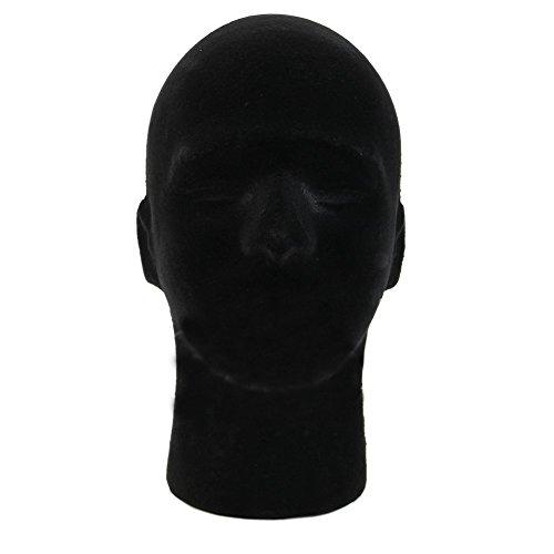 1 PC Male Perücken Kopf Perücke-Standplatz Styropor-Mannequin-Kopf Tragbare Schaum Perücke Styling Hut Kopfbedeckung Display Stand Haarschmuck (Schwarz) -