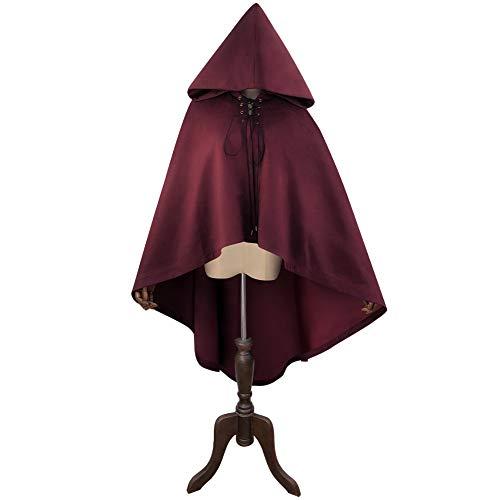 ween Kapuzen Umhang Deluxe Samt Cape Unisex Hexe Umhang Für Vampire Weihnachten Cosplay Kostüme (Farbe : Weinrot, Size : F) ()