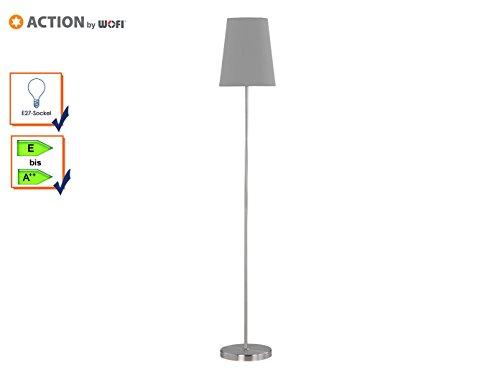 ACTION by WOFI 332901506000 , Standleuchte; Serie: Fynn; Farbe: Nickel matt; Farbe (Schirm): grau; 1x E27 60 Watt; Höhe: 150 cm/ Ø: 25 cm, Metall, 60 watts , E27, Nickel-matt/Grau, 25 x 25 x 150 cm