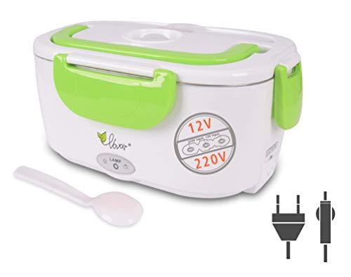 Auto Elektrische Heizung Lunchbox 12 V / 220 v 2 in1 Hause Elektrische Thermische Lunchbox Lebensmittel Heizung Wärmer für Hitzebewahrung, Büro, Schule, Reisen (Grün)