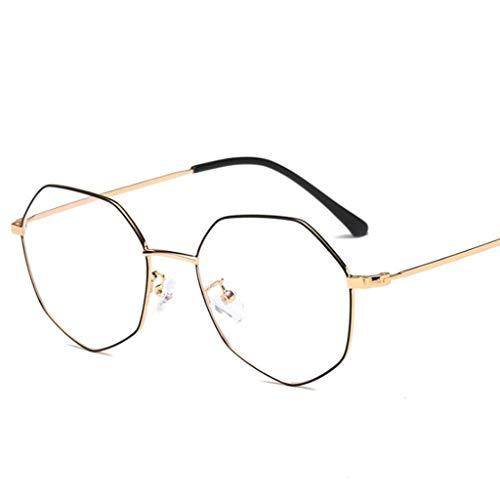 LSS Blaulichtfiltergläser,Polygon Brillen Ohne Schutzbrillen,Augenschutz,Large Frame Men Women (Farbe : A)