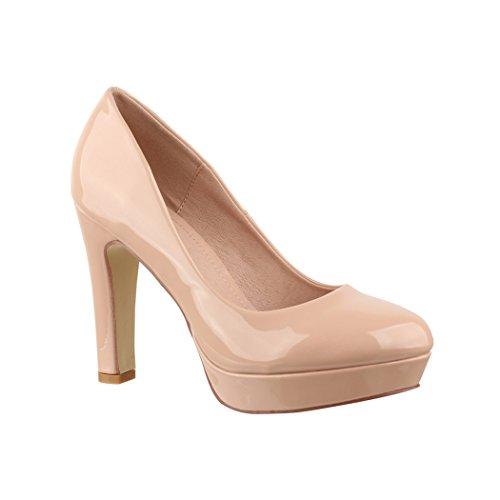 Elara Plateau Pumps | Bequeme Damen High Heels | Abend Schuhe Lackoptik | Chunkyrayan | E22322 Nude-38