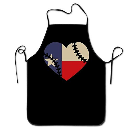 GDESFR Apron with Pock,Texas State Flag Baseball Lace Women Men Kitchen Bib Apron Flower Shop Manicure Store with Adjustable Neck Chef's Apron 28.3
