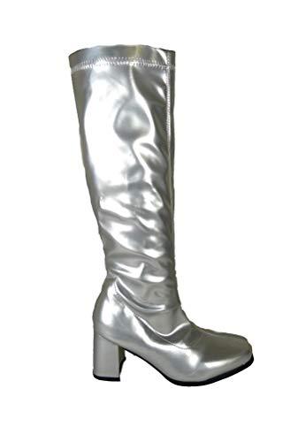 Sexyca - Botas para Mujer, diseño Retro de los años 60 y 70, Talla 3, 4, 5, 6, 7, 8 TM, Color Plateado...