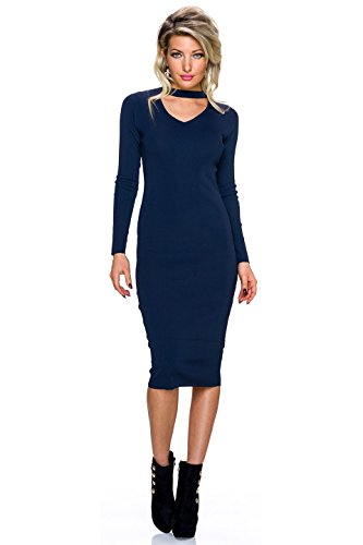 Fashion Damen Ripp Kleid Strickkleid knielang Cutout Pullikleid Pullover Blau